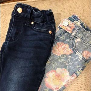 Girls toddler 2 T skinny jeans 2 pair